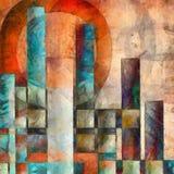 五颜六色的城市摘要 库存照片