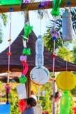 五颜六色的塑料按钮回收装饰 免版税库存照片