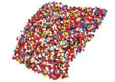 五颜六色的塑料聚合物粒子 图库摄影