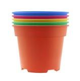 五颜六色的塑料花盆 免版税图库摄影