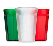 五颜六色的塑料饮料杯 免版税库存照片