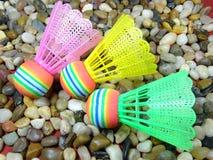 五颜六色的塑料shuttlecock 图库摄影