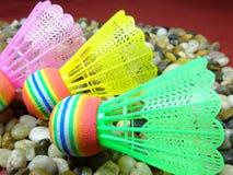 五颜六色的塑料shuttlecock 库存图片