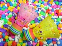 五颜六色的塑料shuttlecock 库存照片