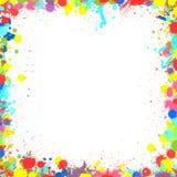 五颜六色的墨似的飞溅框架边界 免版税库存图片