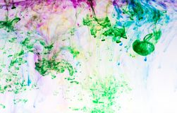 五颜六色的墨水在水中 库存图片