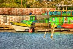 五颜六色的墨西哥湾海岸游览小船 库存图片