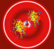 五颜六色的墨水splat设计有红色背景 图库摄影
