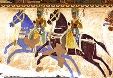 五颜六色的壁画印度mandawa 免版税库存照片