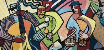 五颜六色的壁画在哈瓦那,古巴 免版税库存照片