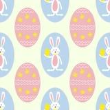五颜六色的复活节彩蛋和兔宝宝无缝的样式印刷品背景 库存例证