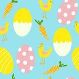 五颜六色的复活节彩蛋和鸡无缝的样式印刷品背景 向量例证