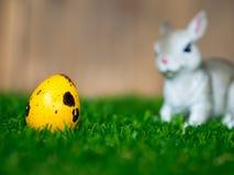 五颜六色的复活节彩蛋在篮子 安置在绿草 有一只逗人喜爱的兔子在后面 后面是一个棕色木框架 库存照片