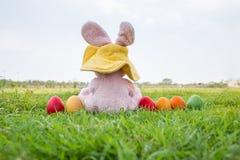五颜六色的复活节彩蛋和兔子穿戴帽子 库存照片