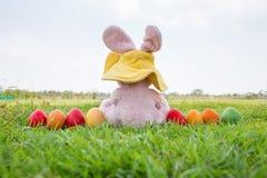 五颜六色的复活节彩蛋和兔子穿戴帽子 免版税库存图片