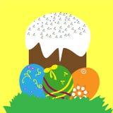 五颜六色的复活节彩蛋和蛋糕 免版税库存照片