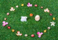 复活节彩蛋,兔子背景/纹理 库存照片