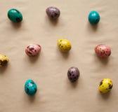 五颜六色的复活节彩蛋 被绘的鹌鹑蛋 免版税图库摄影