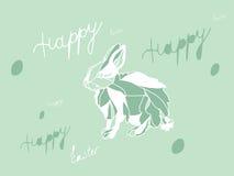 五颜六色的复活节明信片用兔子野兔 图库摄影