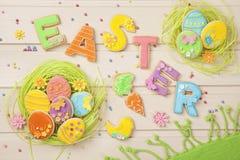 五颜六色的复活节曲奇饼 免版税库存图片