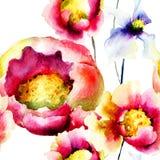 五颜六色的夏天花,无缝的样式 库存照片