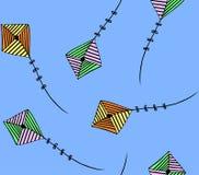五颜六色的夏天风筝样式 库存例证