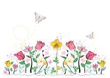 五颜六色的夏时摘要开花传染媒介背景 库存例证