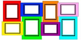 五颜六色的多个空白画框集 库存图片