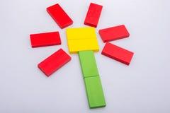 五颜六色的多米诺pices形成花形状 库存图片