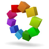 五颜六色的多维数据集3D 向量例证