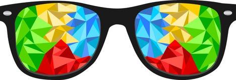 五颜六色的多角形书呆子玻璃 免版税库存照片