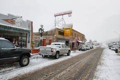 五颜六色的多雪的街道在威廉斯 图库摄影