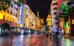 五颜六色的夜都市风景上海 库存图片