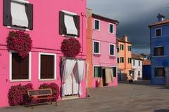 五颜六色的大厦在Murano意大利 库存照片