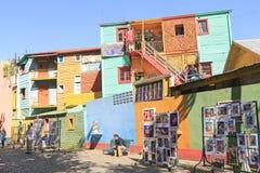 五颜六色的大厦,拉博卡在布宜诺斯艾利斯 免版税库存图片