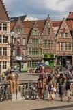 五颜六色的大厦 跟特 比利时 库存照片