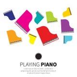 五颜六色的大平台钢琴和椅子 免版税库存照片