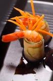五颜六色的大虾虾开胃菜快餐 免版税图库摄影