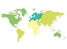 五颜六色的大陆映射世界 免版税库存照片