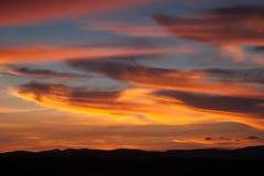 五颜六色的天空和云彩在日落以后 库存照片