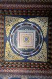 五颜六色的天花板在皇家不丹修道院里 库存图片