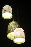 五颜六色的天花板灯 库存照片