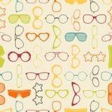 五颜六色的太阳镜和玻璃无缝的样式 库存图片
