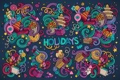 五颜六色的套假日对象 免版税图库摄影