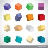 五颜六色的套几何形状,帕拉图式的固体,传染媒介例证 免版税库存照片