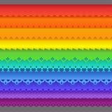 五颜六色的套十个无缝的边界 库存图片