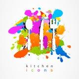 五颜六色的套厨房辅助部件象iogo 库存照片