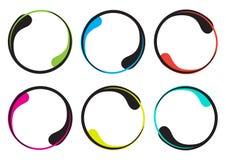 五颜六色的套您的文本的装饰圆的框架,以下落的形式边界 ?? 库存例证