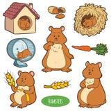 五颜六色的套逗人喜爱的动物和对象,与仓鼠的传染媒介贴纸 免版税库存照片