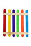 五颜六色的奶油色冰棍子木头 免版税库存图片